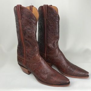 Lucchese Kent Hand-Tooled Cowboy Boots Men's 9